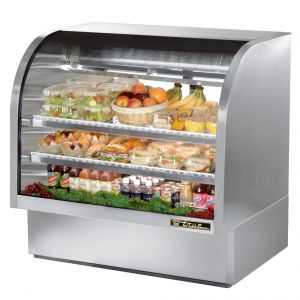 Deli Case, Curved Glass Deli Case, 48 Inch, Stainless Steel
