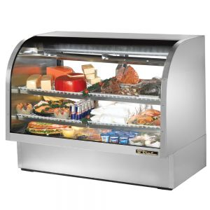 Deli Case, Curved Glass Deli Case, 60-1/4 Inch, Stainless Steel