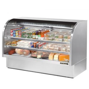 Deli Case, Curved Glass Deli Case, 72-1/8 Inch, Stainless Steel