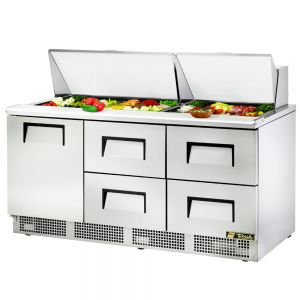 Food Prep Table, One Door, Four Drawer, 72 Inches