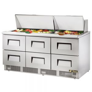 Food Prep Table, Six Drawer, 72 Inches
