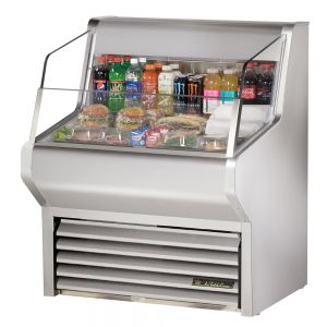 Horizontal Air Curtain Refrigerated Merchandiser, 36 Inch, Stainless Steel