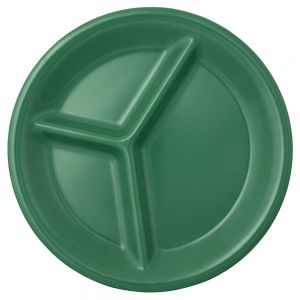 10 1/4 Inch Melamine Three Compartment Plate - Color Green