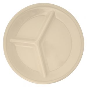 Melamine Three Compartment Plate - Color Ivory