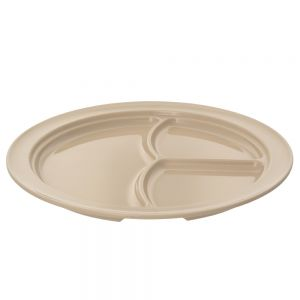 10 1/4 Inch Melamine Three Compartment Plate - Nu Stone Tan