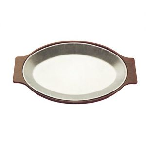 Serving Platter, 9-3/4 Inch X 14-1/2 Inch, Modern Oval, Solid Cast Aluminum, Frosty Finish, Case of