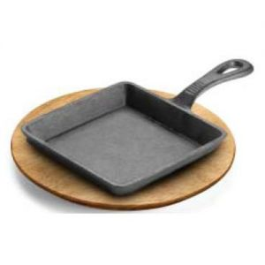 Square Skillet With Handle, Cast Iron, Preseasoned, 5-3/4W x 5-3/4L x 1-1/8H