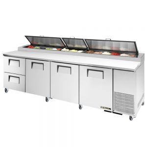 Pizza Prep Table, 3 Doors, 2 Drawer, 119 Inches