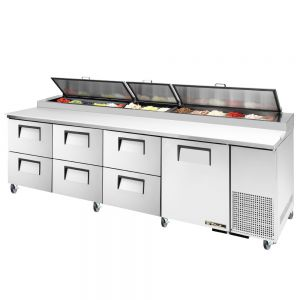 Pizza Prep Table, 1 Door, 6 Drawer, 119 Inches