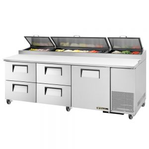 Pizza Prep Table, 4 Drawers, 93-1/4 Inch Wide