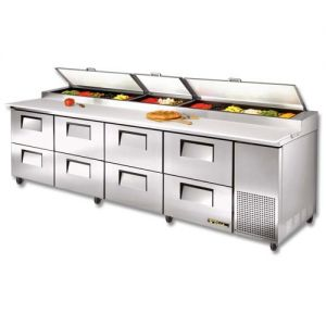 Pizza Prep Table, 8 Drawers, 119-1/4 Inch Wide