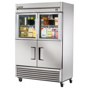 Glass Door Commercial Refrigerator, Stainless Interior, 2 Glass/2 Stainless Doors