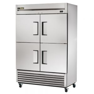 Commercial Refrigerator, Stainless In and Out, 4 Half Doors, 49 Cu. Ft.