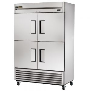 Commercial Freezer, Stainless In and Out, 4 Half Doors, 49 Cu. Ft.