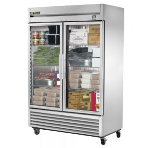 Glass Door Freezer, Commercial Freezer, Stainless Interior, 2 Door, 49 Cu. Ft.
