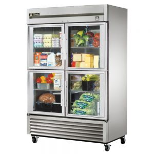Glass Door Refrigerator, Commercial Refrigerator, Stainless Interior, 4 Half Door, 49