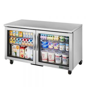 Undercounter Refrigerator, Commercial Refrigerator, 2 Glass Door, 60-1/4 Inch Wide