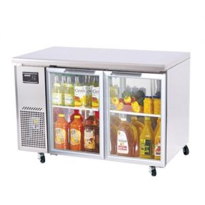 J Series Glass Door Undercounter Side Mount Refrigerator, Two Section, 11 Cu Ft