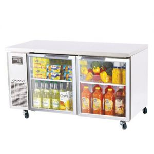 J Series Glass Door Undercounter Side Mount Refrigerator, Two Section, 15 Cu Ft