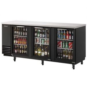 Back Bar Cooler, Three Section, Glass Doors, 90 Inches Wide