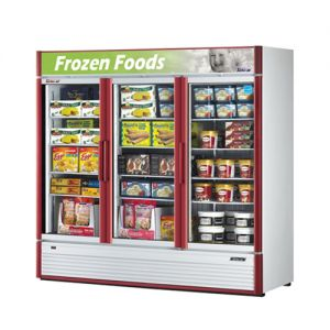 Super Deluxe Glass Door Merchandiser Freezer, Three Section, 71.3 Cu Ft