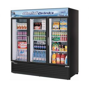 Refrigerated Glass Door Merchandiser, Three Section, 72 Cu Ft