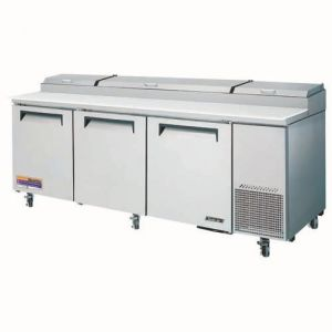 Super Deluxe Pizza Prep Table, three-section, 30.9 cu. ft.