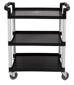 Black 3 Tier Utility Cart, 16-1/8 x 32-7/8 x 37-7/8 Inches