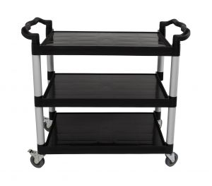 Black 3 Tier Utility Cart, 19-3/4 x 42-1/2 x 37-7/8 Inches