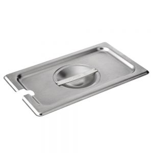 Fourth Size Stainless Steel Food Pan Cover, Notched