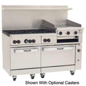 Endurance Restaurant Range, 6 Burner, 24 Inch Griddle/Broiler, 60 Inch, Gas