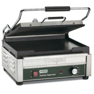 Panini Grill, Double, Ribbed Upper/Flat Lower