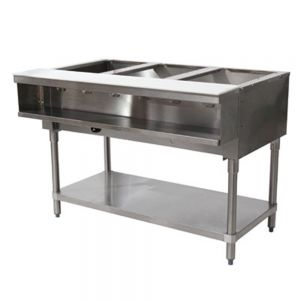 Water Bath Hot Food Table - 3 Wells, Natural Gas