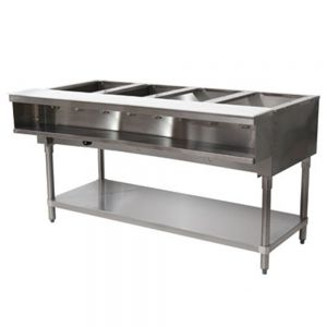 Water Bath Hot Food Table - 4 Wells, Natural Gas