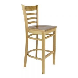 Natural Finish Ladder Back Bar Stool With Wood Seat
