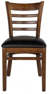 Mahogany Wood Ladder Back Dining Chair w/ Black Vinyl Seat