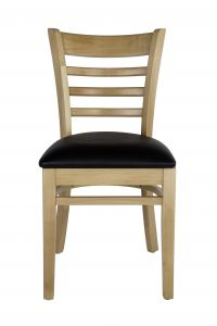 Ladder Back Wood Chair with Black Vinyl Seat, Natural