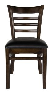 Ladder Back Wood Chair with Black Vinyl Seat, Walnut
