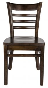 Ladder Back Chair with Solid Wood Seat, Walnut