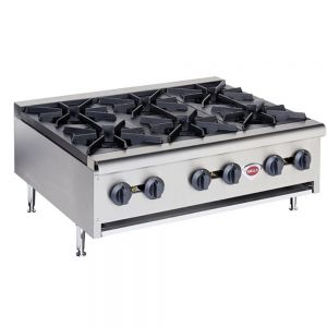 Wells HDHP-3630G Heavy Duty 6 Burner Hot Plate - Natural Gas (Field Convertible to LP)
