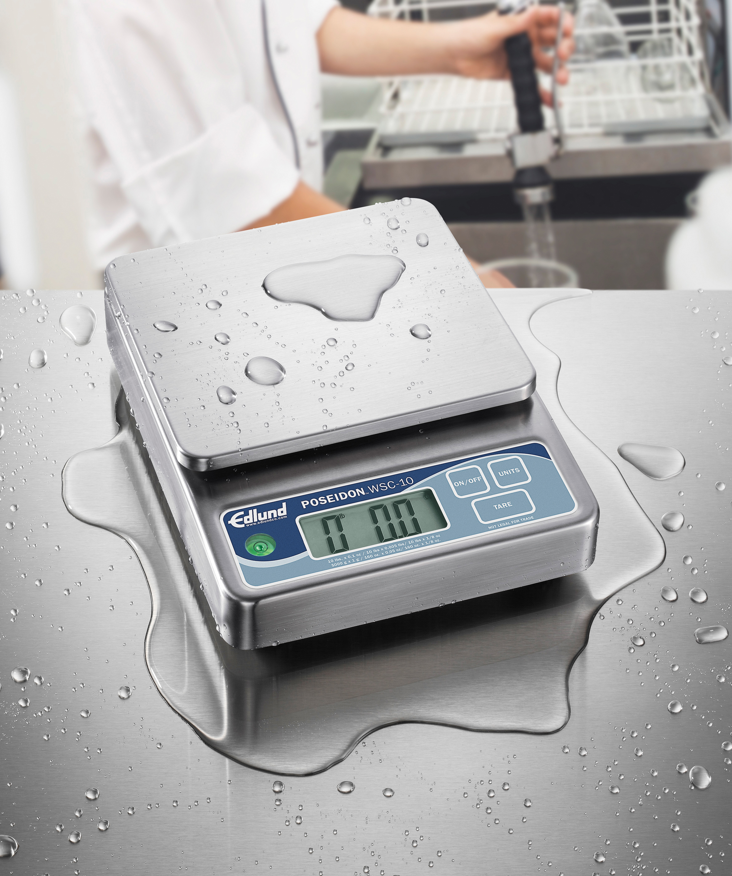 Edlund 50 g Poseidon Submersible Digital Portion Scale W/ Grams Only Function and Oversized Platform