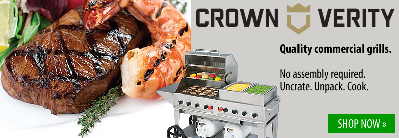 Crown Verity Quality Commercial Grills No assembly required. Uncrate. Unpack. Cook.